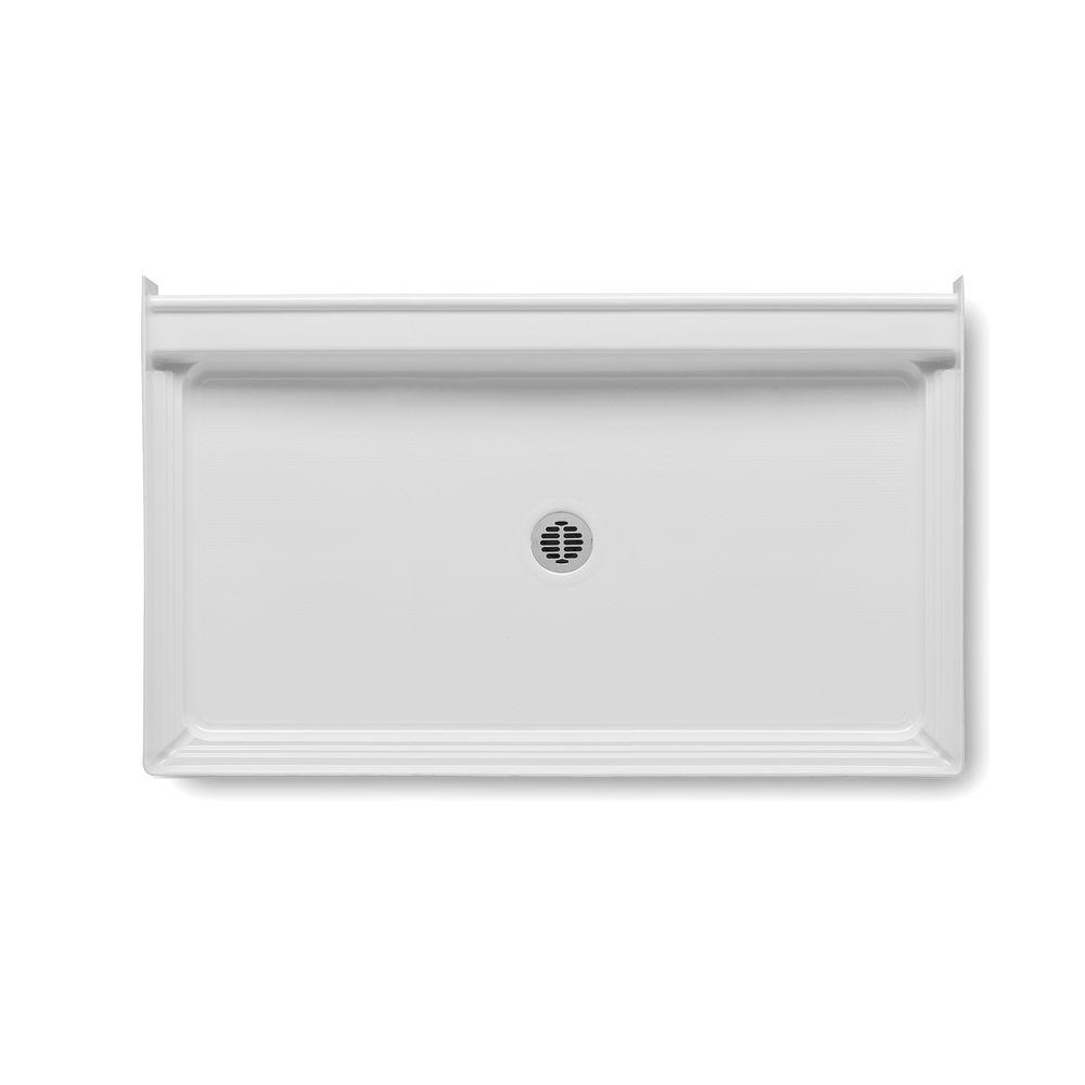 Aquatic A2 60 in. x 34 in. Single Threshold Center Drain Shower Base in White