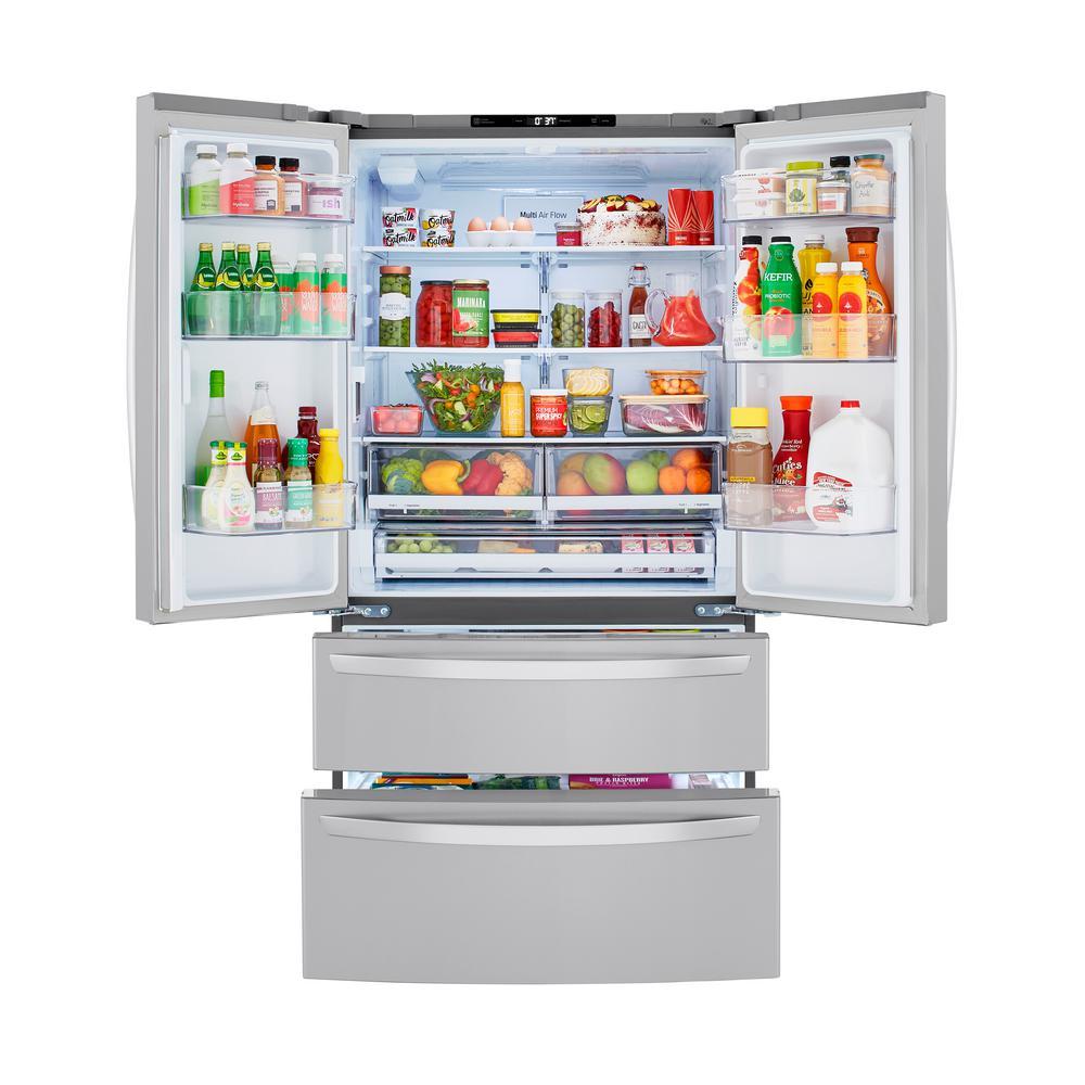 23 cu. ft. 4-Door French Door Refrigerator with 2 Freezer Drawers in PrintProof Stainless Steel, Counter Depth