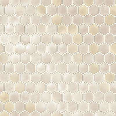 Hexagon Tiles Champagne Vinyl Peelable Roll (Covers 56 sq. ft.)