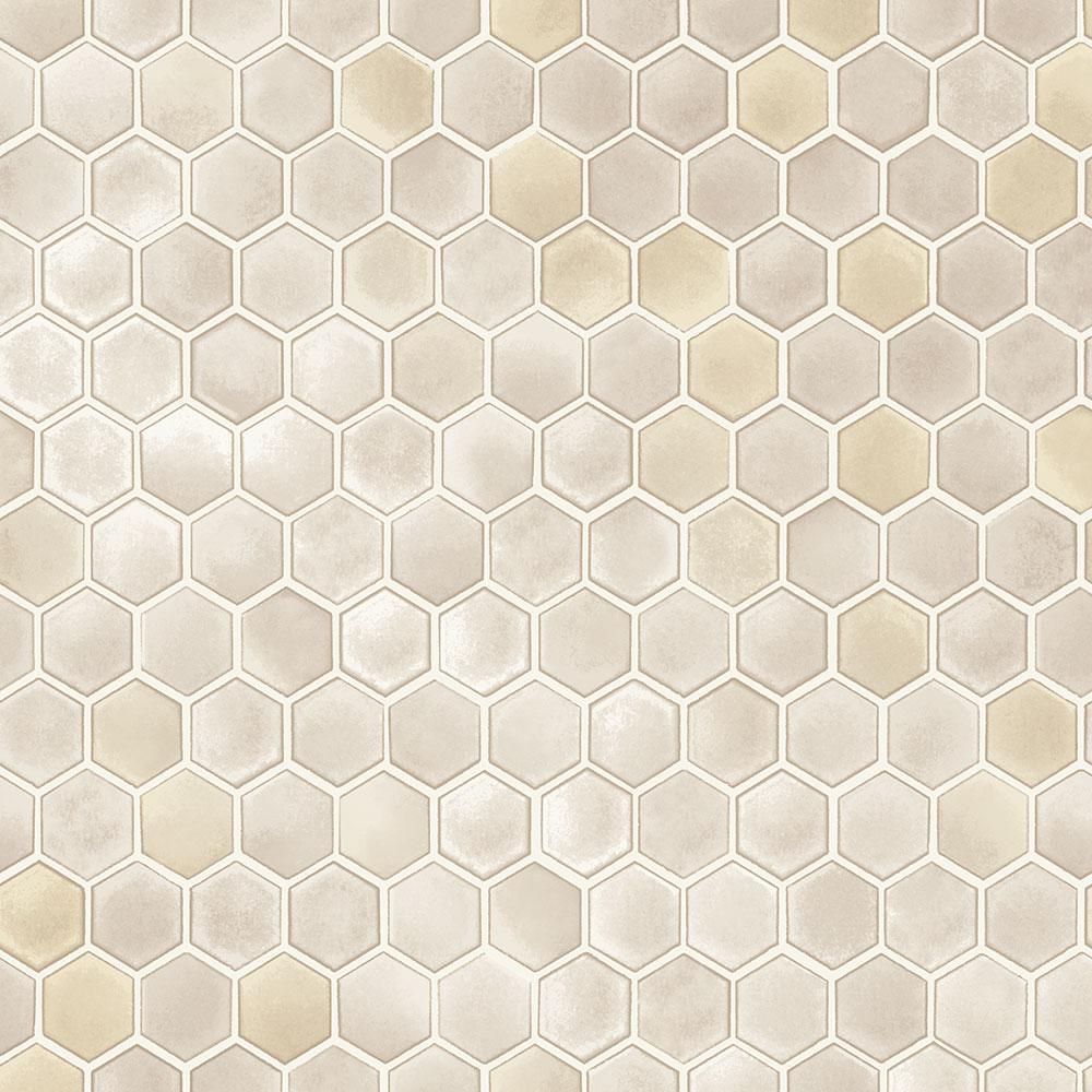 Hexagon Tile Champagne Peel and Stick Wallpaper Sample