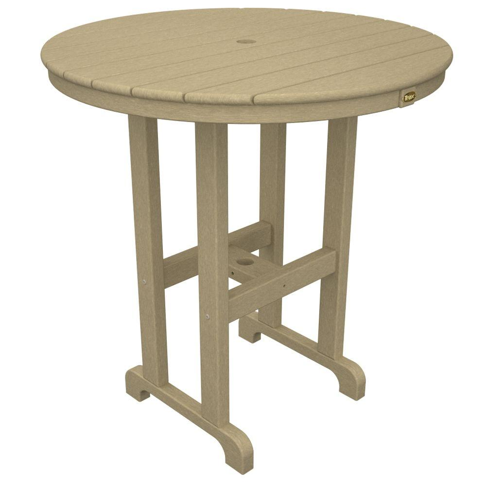 Trex Outdoor Furniture Monterey Bay 36 in. Sand Castle Round Patio Counter Table