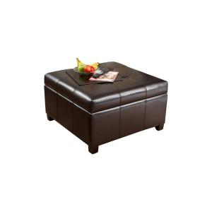 Brilliant Noble House Richmond Espresso Bonded Leather Storage Ottoman Gmtry Best Dining Table And Chair Ideas Images Gmtryco