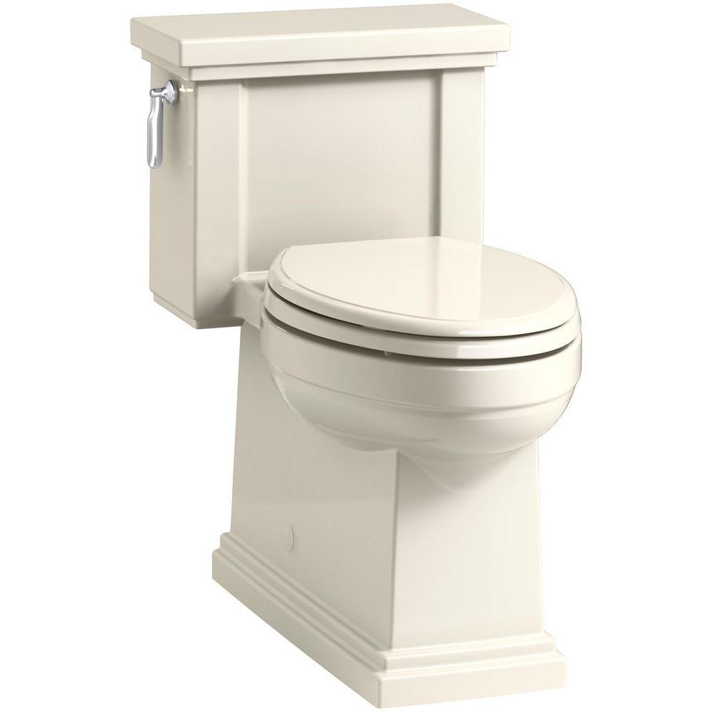 Tresham 1-piece 1.28 GPF Single Flush Elongated Toilet in Almond