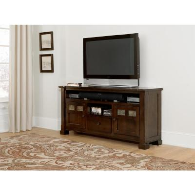 Telluride 64 in. Mesa Brown Wood TV Stand with 1 Drawer Fits TVs Up to 70 in. with Storage Doors