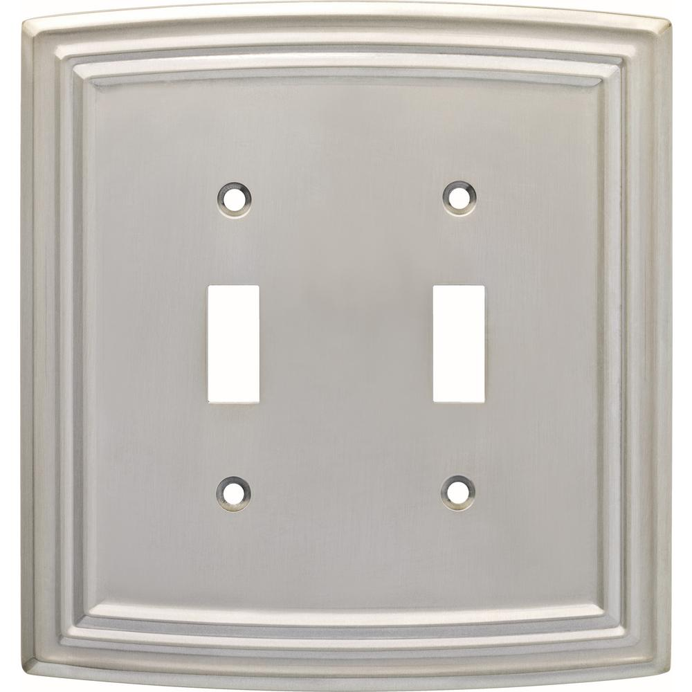 Hampton Bay Emery Decorative Double Light Switch Cover Satin Nickel