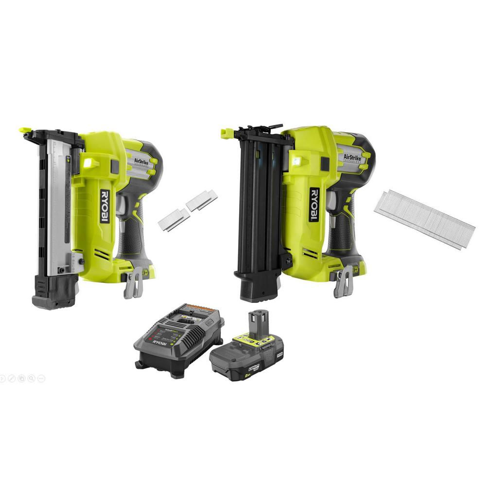 RYOBI 18-Volt ONE+ Cordless AirStrike 18-Gauge Brad Nailer and 18-Gauge Narrow Crown Stapler with 2.0 Ah Battery and Charger