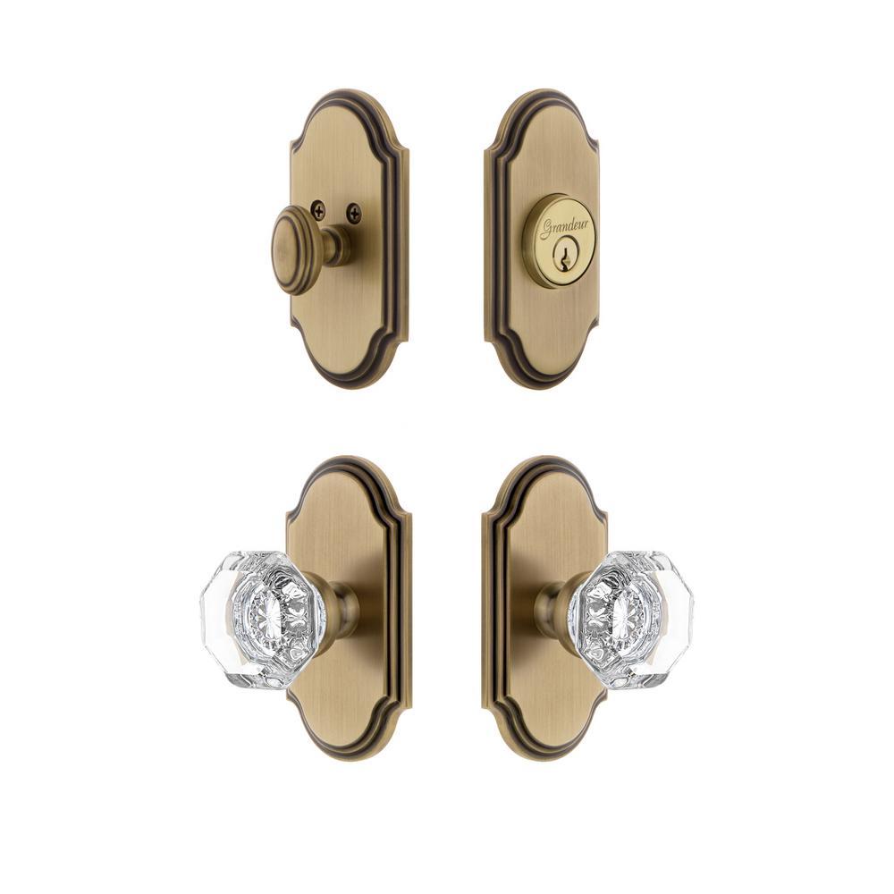 Arc Plate 2-3/4 in. Backset Vintage Brass Chambord Crystal Door Knob with Single Cylinder Deadbolt
