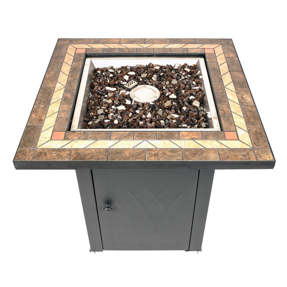 Pleasant Hearth Atlantis 28inch x 26inch Square Steel Propane Gas Fire Pit Table in Black w/ Glass Fire Rocks