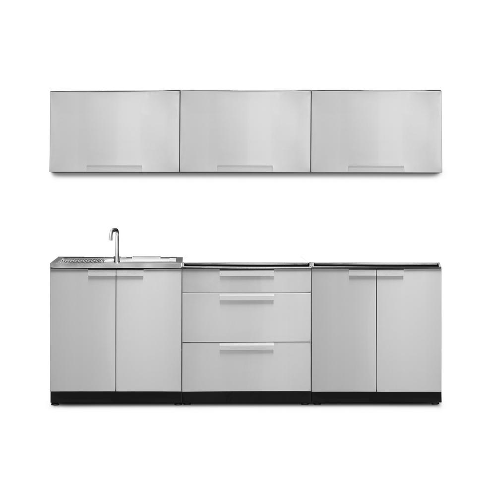 NewAge Products Stainless Steel 6-Piece 96 in. W x 36.5 in. H x 24 in. D  Outdoor Kitchen Cabinet Set without Countertop