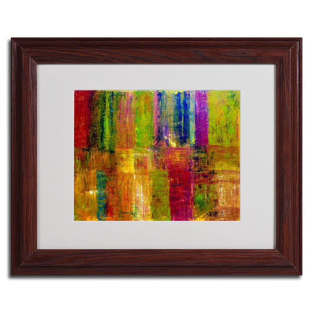 Trademark Fine Art 16 in. x 20 in. Color Abstract Dark Wooden Framed Matted Art