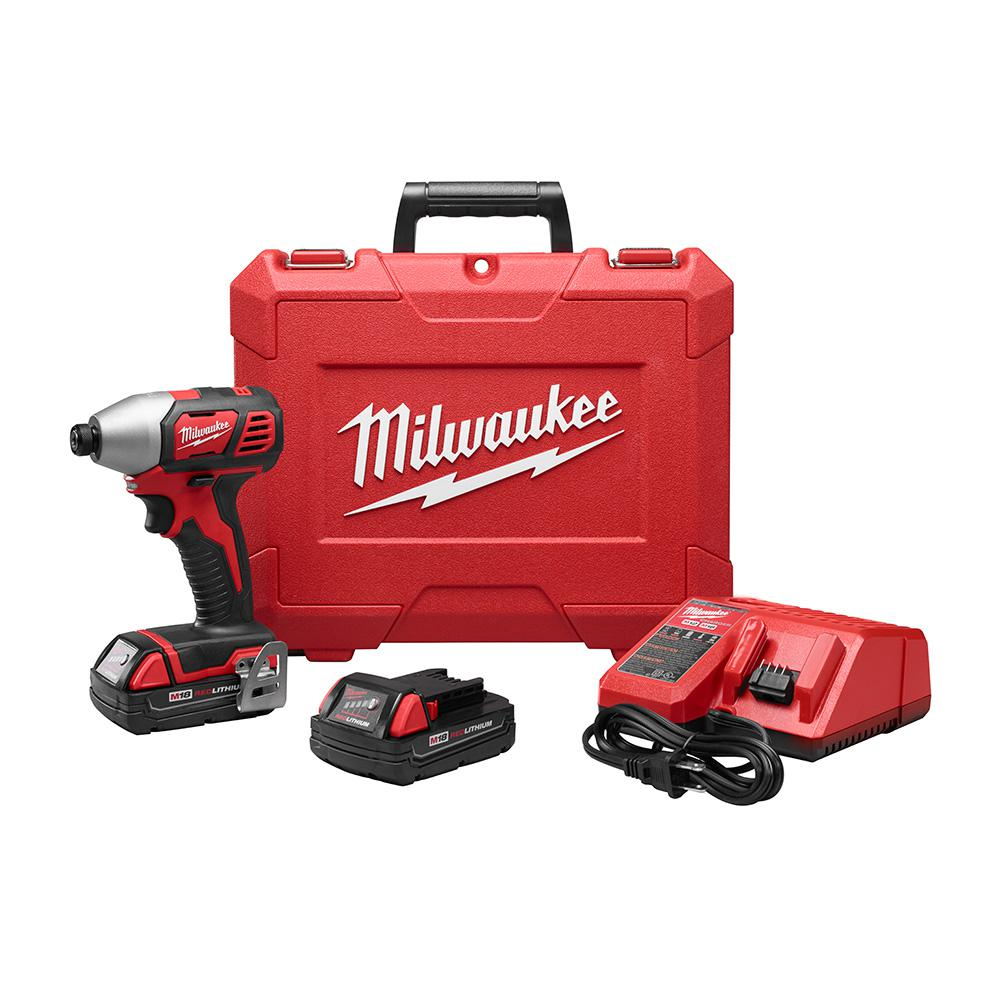 Milwaukee Milwaukee M18 18-Volt Lithium-Ion Cordless 1/4 in. Impact Driver Kit with(2) 1.5Ah Batteries, Charger, Hard Case