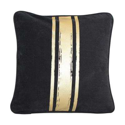 16 in. x 16 in. Black with Gold Paintstroke Stripes Brushed Canvas  Standard Pillow with Green Eco Friendly Insert