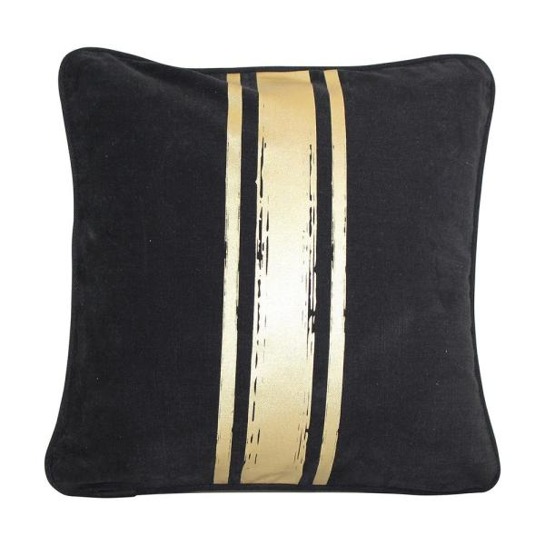 Paint Stroke Black and Gold Stripes Striped Cotton 16 in. x 16 in. Throw Pillow