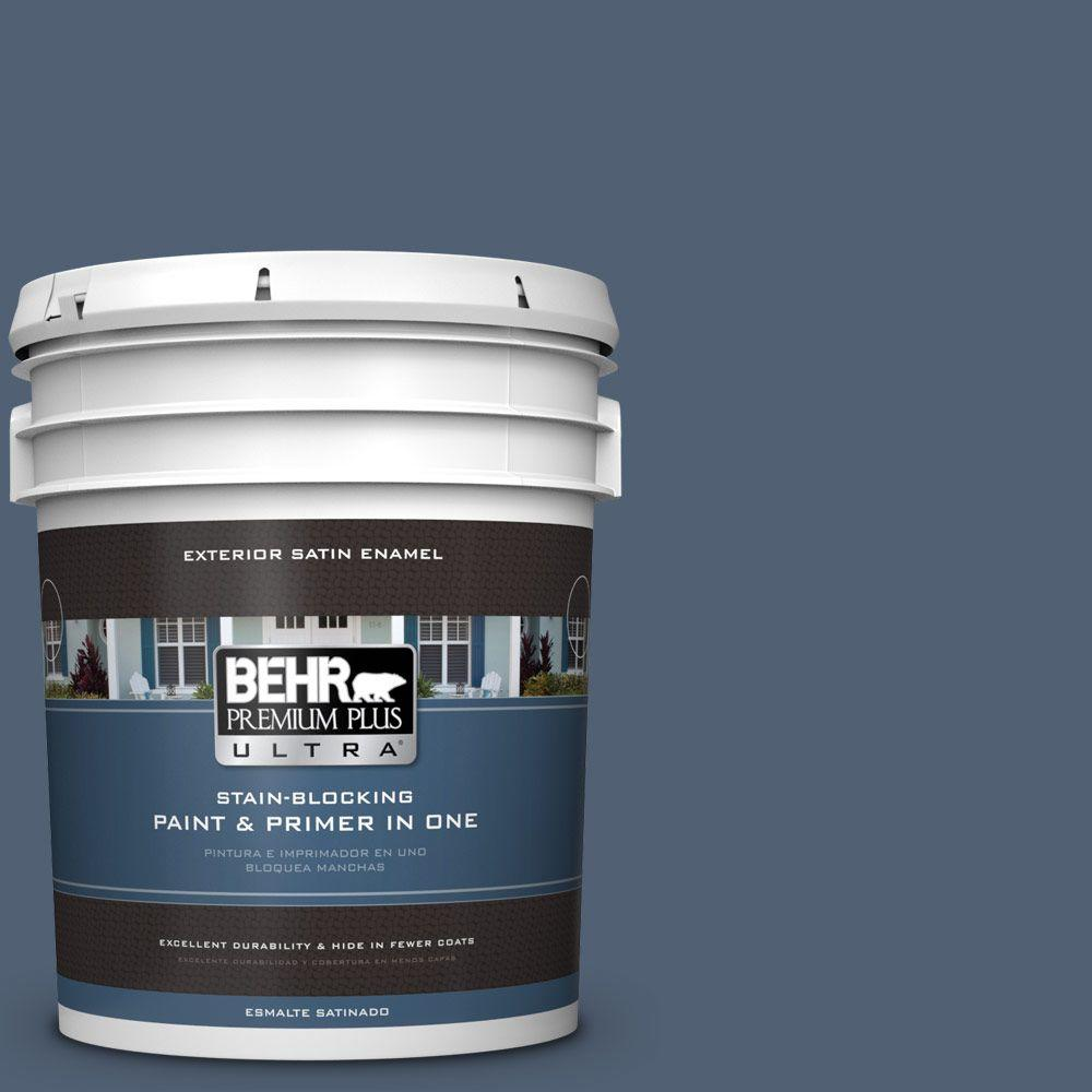 BEHR Premium Plus Ultra 5-gal. #PPU14-19 English Channel Satin Enamel Exterior Paint