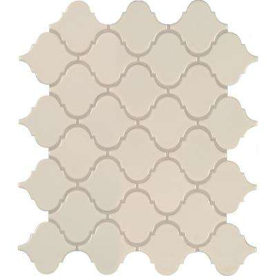 Almond Glossy Arabesque 11.53 in. x 9.65 in. x 10mm Porcelain Mesh-Mounted Mosaic Tile (15.46 sq. ft. / case)