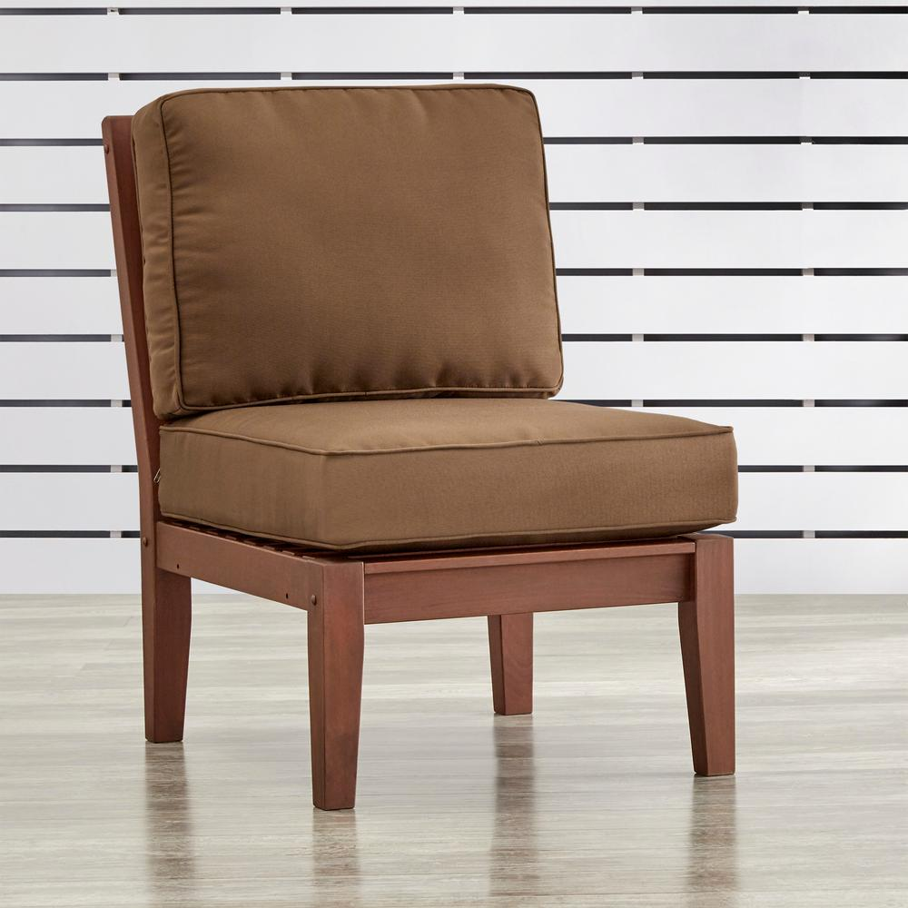 Verdon Gorge Brown Oiled Wood Outdoor Extension Lounge Chair with Brown