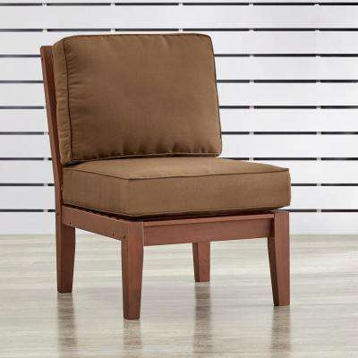 Verdon Gorge Brown Oiled Wood Outdoor Extension Lounge Chair with Brown Cushion