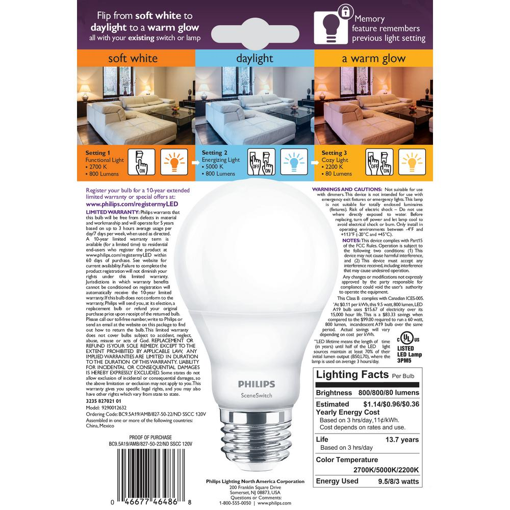 Philips 60 Watt Equivalent A19 Sceneswitch Led Light Bulb