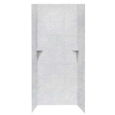 Square Tile 36 in. x 36 in. x 96 in. 3-Piece Easy Up Adhesive Alcove Shower Surround in Tundra