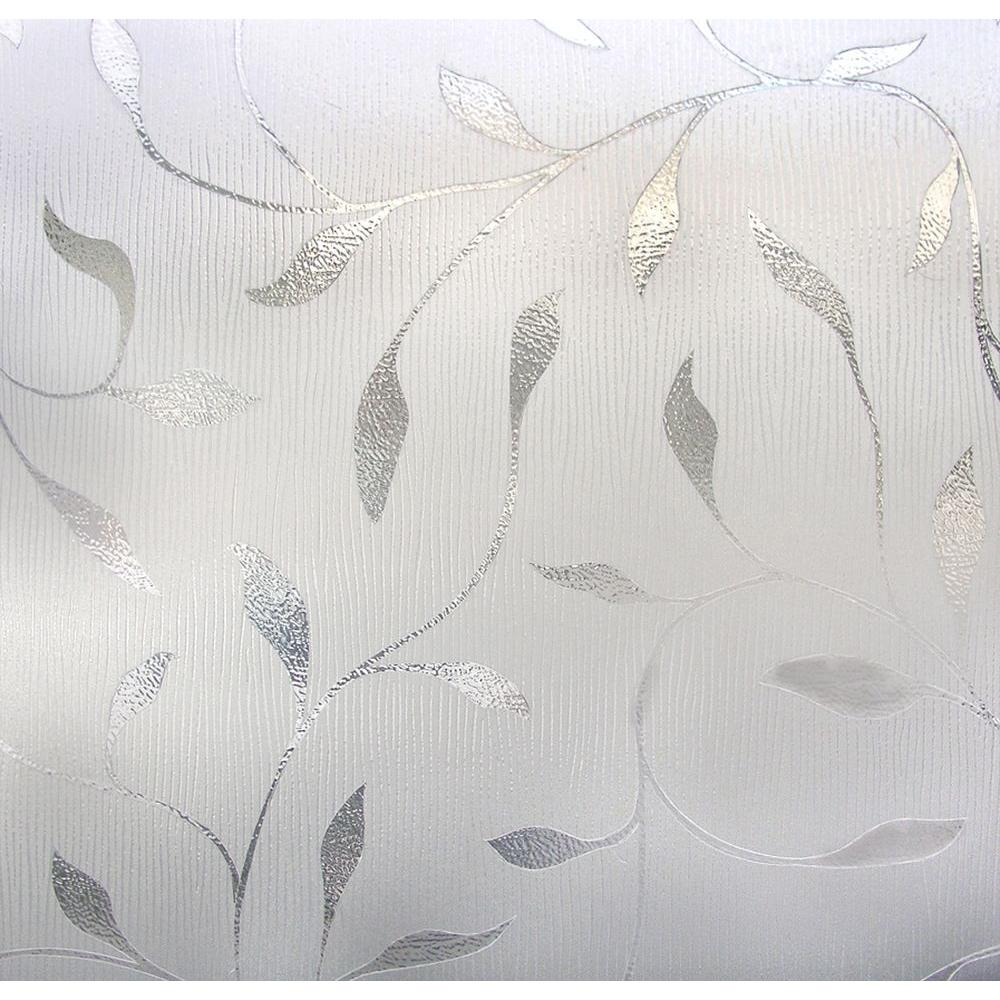 Cling etched glass window decal for - Etched Leaf Decorative Window Film