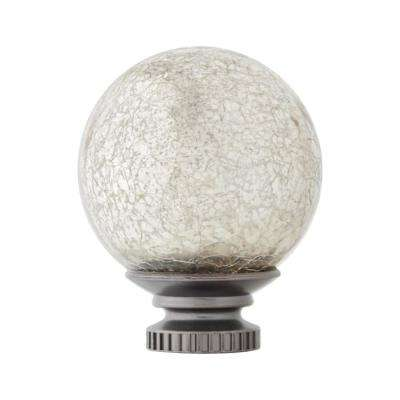 Mix and Match 1 in. Mercury Glass Sphere Curtain Rod Finial Set in Gunmetal (2-Pack)
