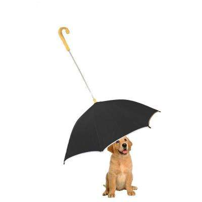 One Size Pour-Protection Umbrella with Reflective Lining and Leash Holder in Black