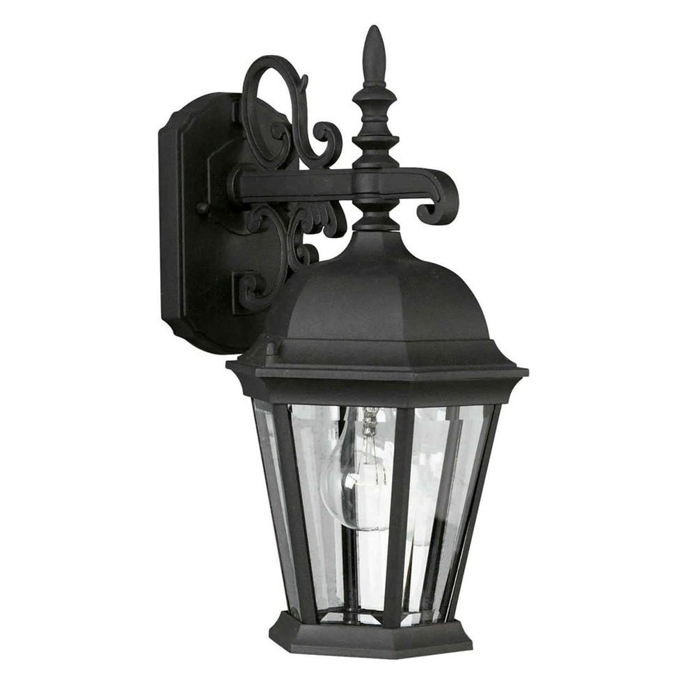 Talista 1-Light Outdoor Black Wall Lantern with Clear Beveled Glass Panels