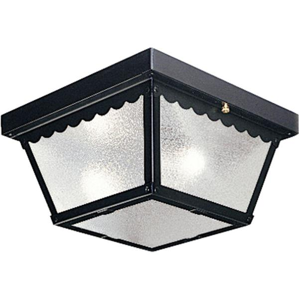 2-Light Black Outdoor Flushmount