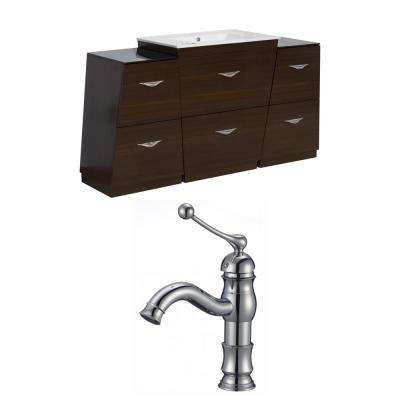 16-Gauge-Sinks 56 in. W x 18.25 in. D Bath Vanity in Wenge with Ceramic Vanity Top in White with White Basin