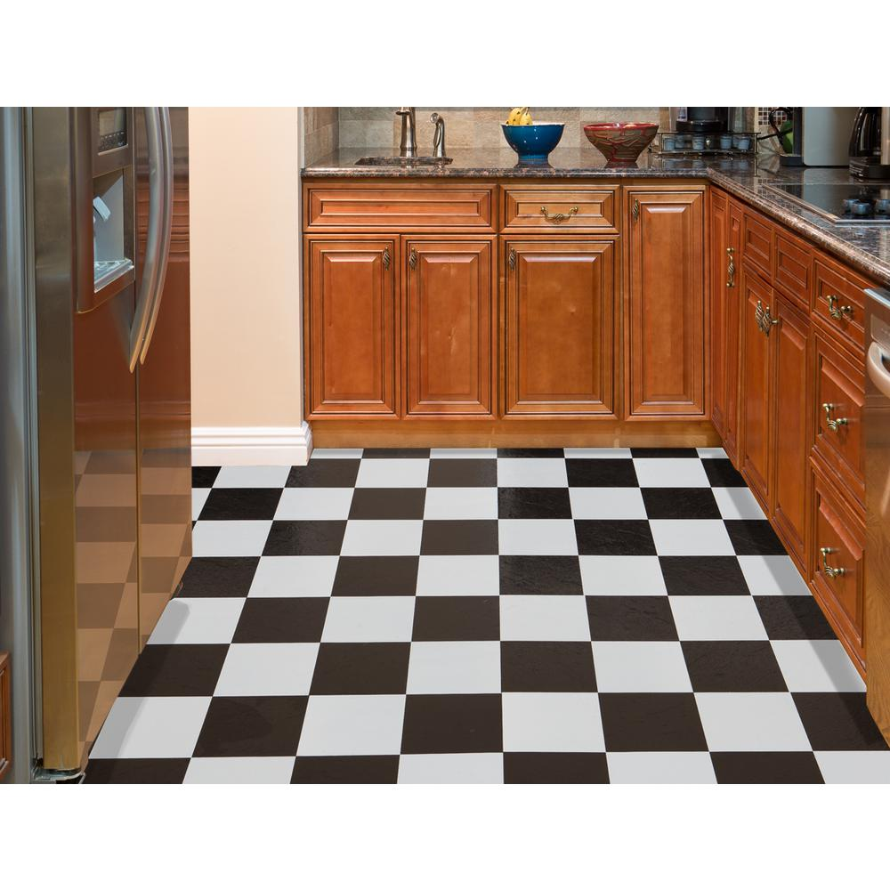 Achim Sterling Black And White Checkered 12 In X 12 In Peel And Stick Vinyl Tile 45 Sq Ft Case