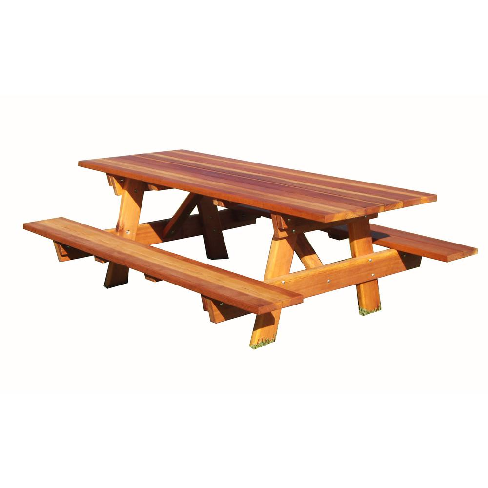 Outdoor 1905 Super Deck Finished 7 Ft Redwood Picnic Table With Attached Benches