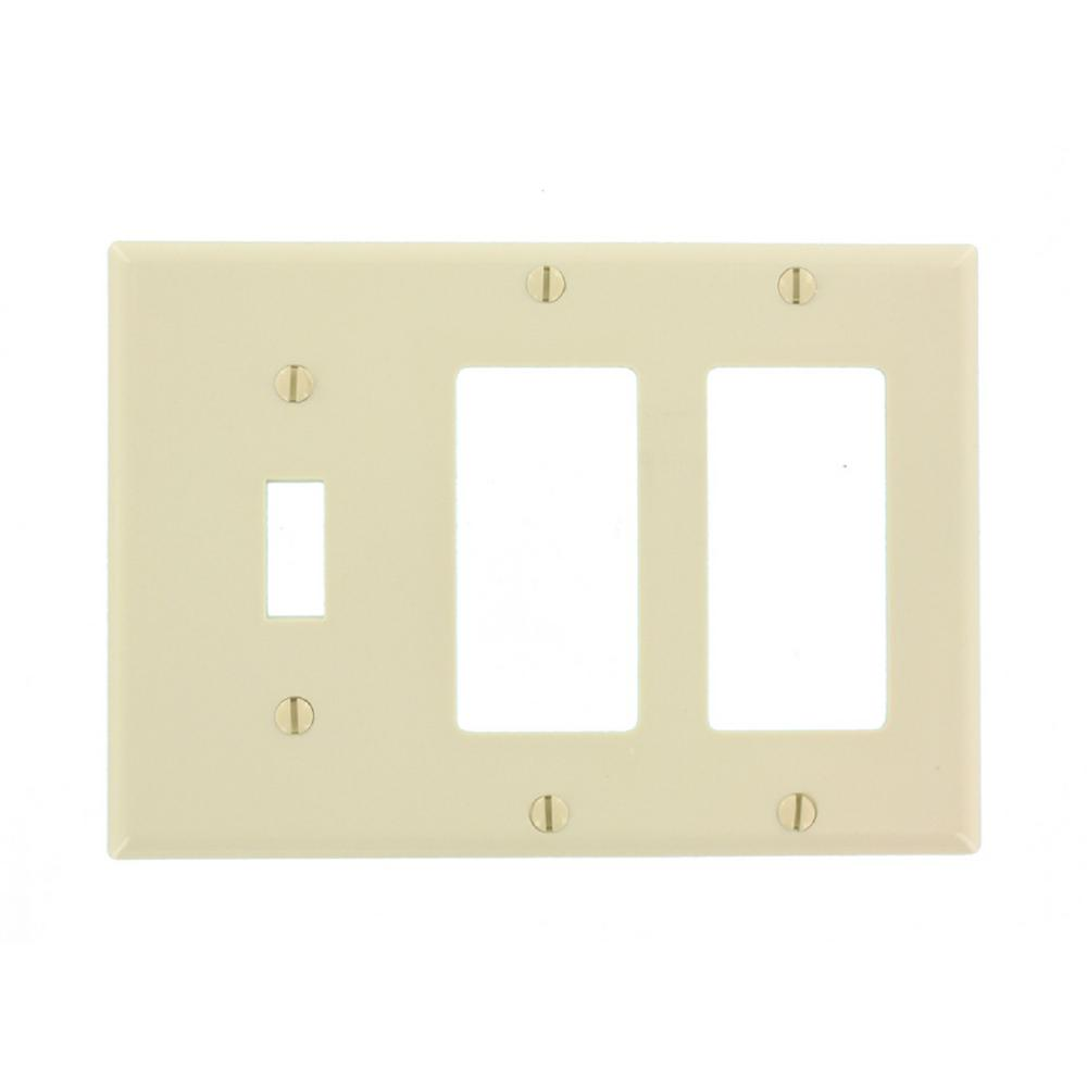 Leviton 3 Gang Standard Size Plastic Combination Wall Plate Light