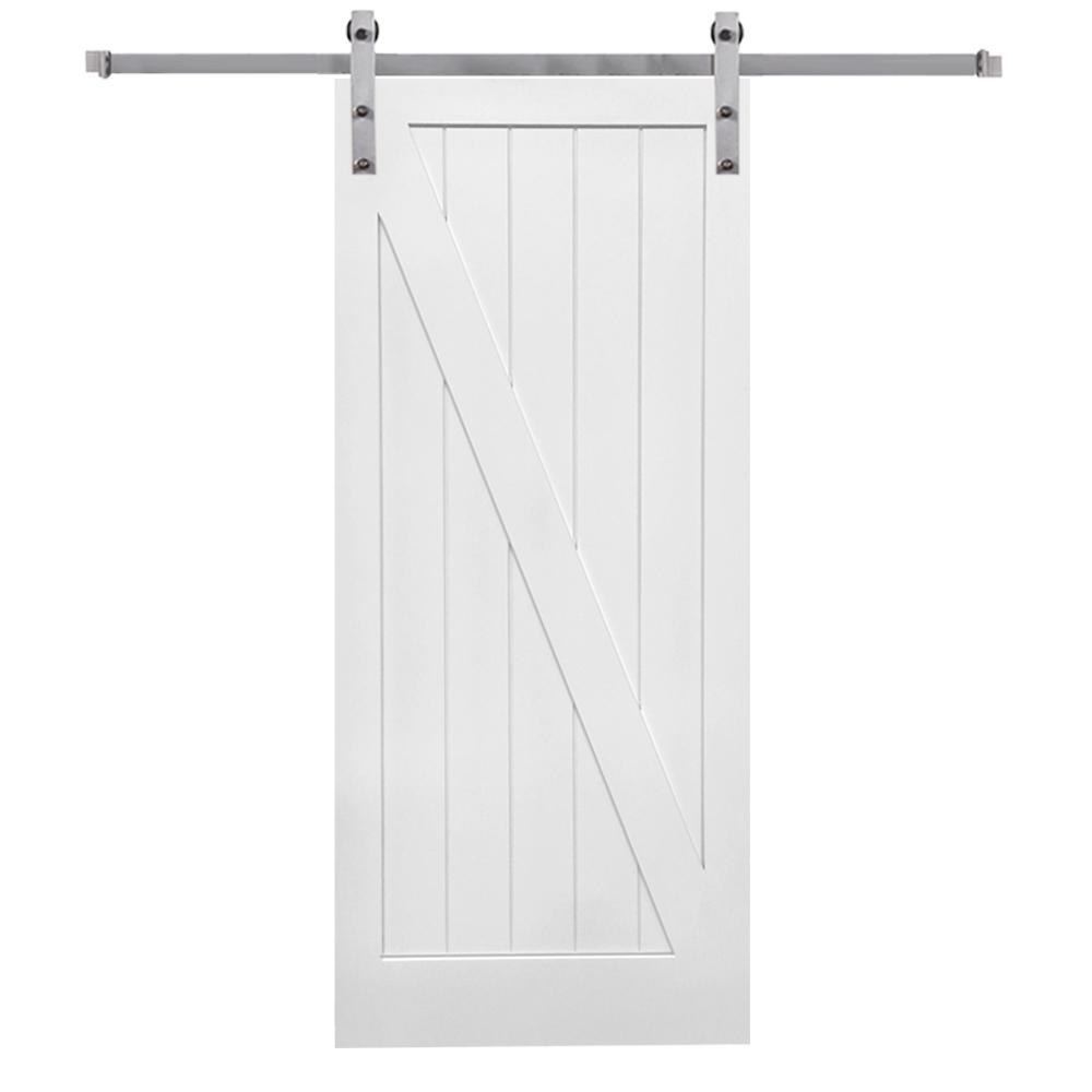 MMI Door 42 in. x 84 in. Primed Z-Plank MDF Sliding Barn Door with Hardware Kit was $605.0 now $409.0 (32.0% off)