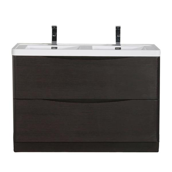 Eviva Smile 48 in. W x 19 in. D Bath Vanity in Chestnut ...
