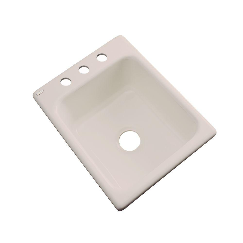 Thermocast Crisfield Drop-In Acrylic 17 in. 3-Hole Single Basin Entertainment Sink in Shell