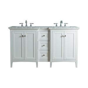 Tower 60 in. W x 23.5 in. D Bath  Vanity in White with Marble Vanity Top in Carrara White with White Basin