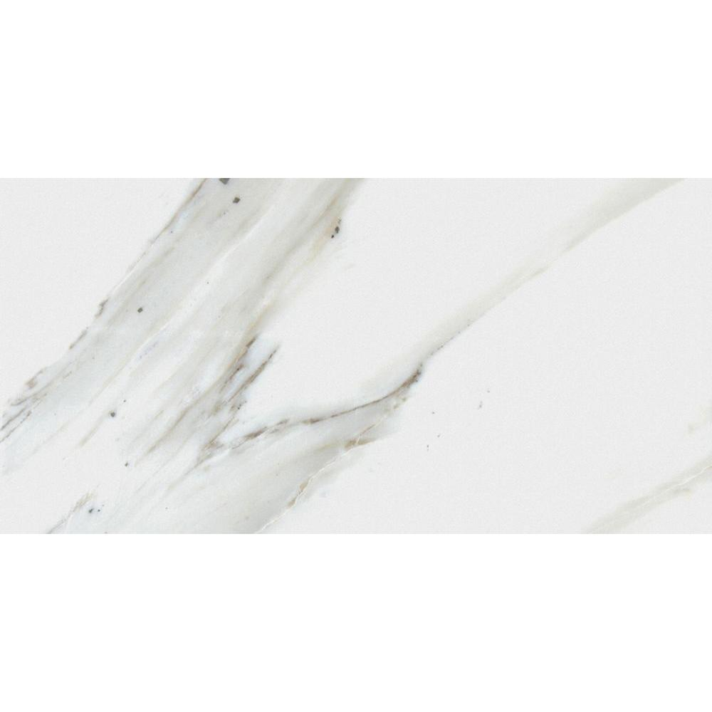 Calacatta Ivory 12 in. x 24 in. Glazed Polished Porcelain Floor
