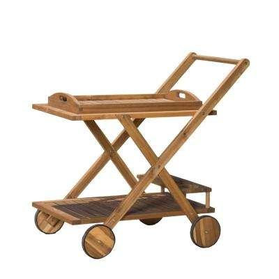 Sammy Wood Outdoor Serving Bar Cart with Tray