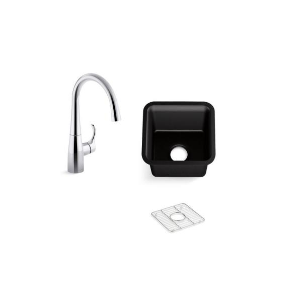 Cairn Black Granite Composite 16 in. Undermount Bar Sink with Simplice Faucet
