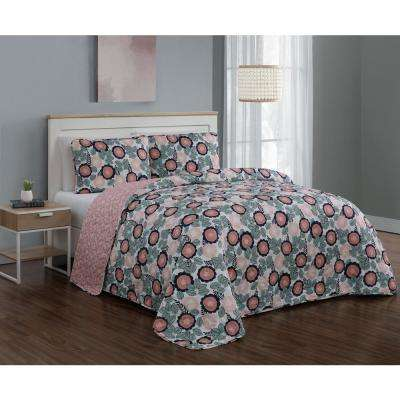 Marka Blush/Green King Quilt Set (3-piece)