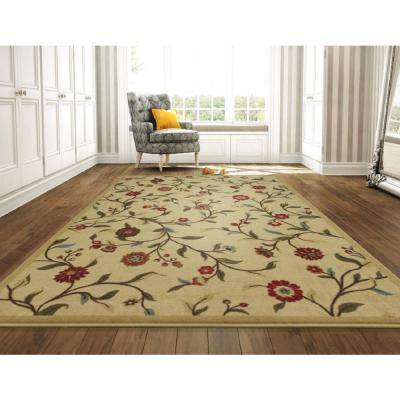 Ottohome Collection Floral Garden Design Beige 8 ft. x 10 ft. Non-Skid Area Rug
