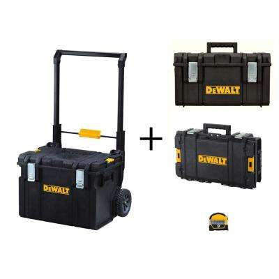 ToughSystem 22 in. Tool Box Set (3-Piece) with Bonus 9 ft. x 1/2 in. Pocket Tape Measure with Magnetic Back