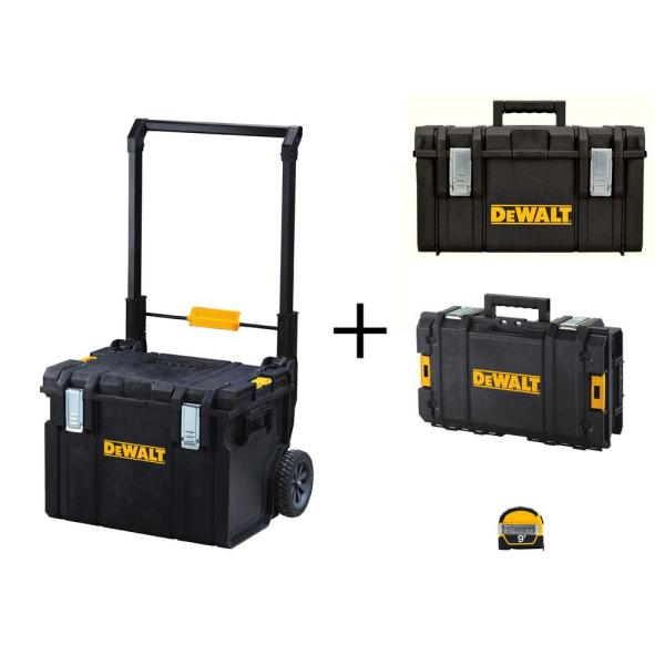 TOUGHSYSTEM 22 in. Tool Box Set (3-Piece) with Bonus 9 ft. x 1/2 in. Pocket Tape Measure with Magentic Back
