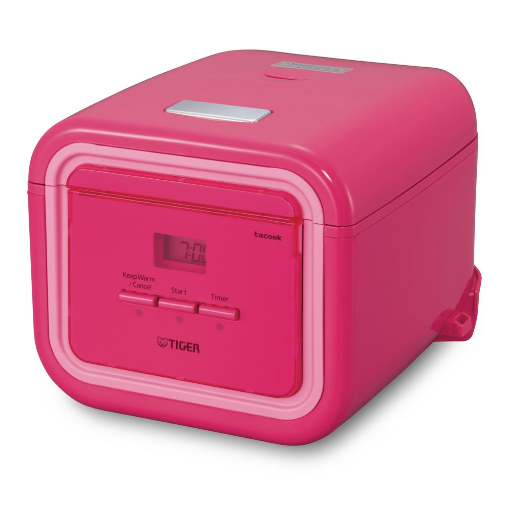 3-Cup Pink Micom Rice Cooker with Tacook Cooking Plate JAJ-A55U-PP rice cooker with its modern square design, will be a welcome addition to any kitchen. It is small enough to display on a counter, even in the smallest kitchens. Tiger rice cookers with the tacook cooking plate can cook two dishes simultaneously. Color: Pink.