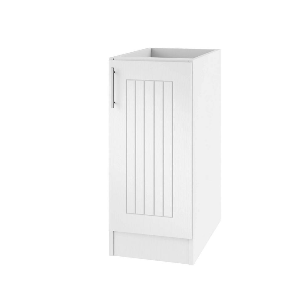 WeatherStrong Assembled 15x34.5x24 in. Naples Open Back Outdoor Kitchen Base Cabinet with Full Height Doors Right in Radiant White