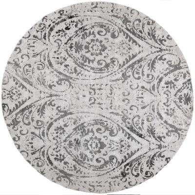 Nicole Miller Patio Sofia Ivory/Gray 7 ft. 10 in. Round Indoor/Outdoor Area Rug