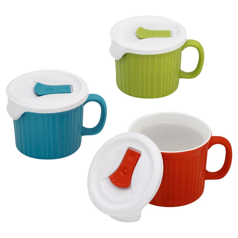 Corningware Pop-In Mug with Lids, Assorted Colors