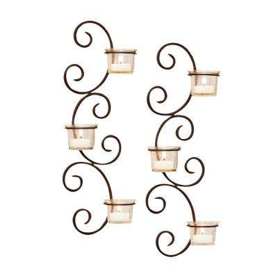 Classic 16 in. x 5 in. Rustic Iron And Clear Glass Wall Sconce Candle Holders (Set of 2)