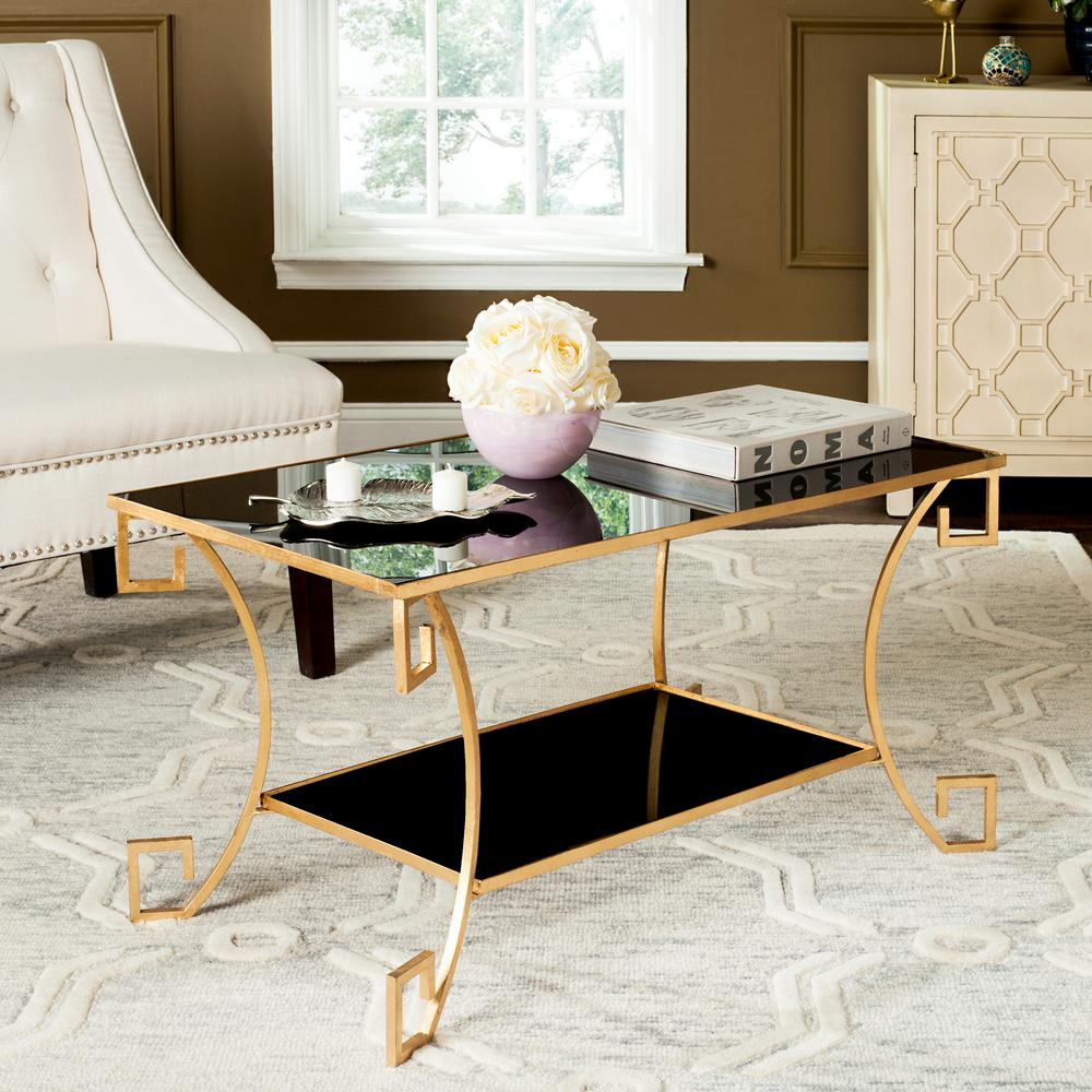 Safavieh Yasemeen Black Antique Gold Greek Key Coffee Table
