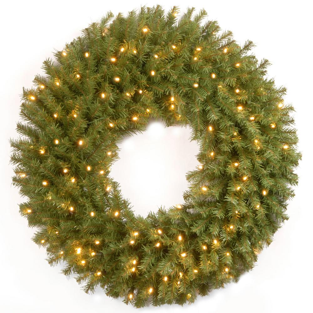 30 in. Battery Operated Norwood Fir Wreath with Warm White LED